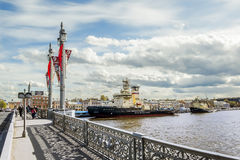 Icebreaker Moscow is moored near the promenade des Anglais in Saint Petersburg Stock Photography