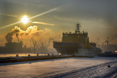 icebreaker on the Neva River on a cold winter day Royalty Free Stock Images