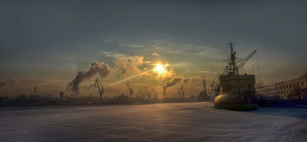 Icebreaker on the Neva River on a cold winter day Royalty Free Stock Photo