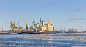 Icebreaker at the pier Royalty Free Stock Photos