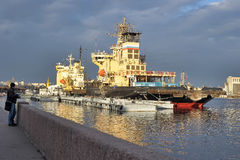 Icebreaker in the port Royalty Free Stock Photography