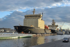 Icebreaker in the port Stock Image