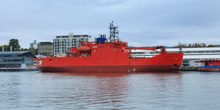 Icebreaker Red Hobart. Australia tasmania hobart port marina with red ice-breacker docked in winter restoring supplies before next scientific expedition in Stock Photos