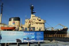 Icebreaker Sampo in the harbor of Kemi ready for unique cruise in frozen Baltic Sea Stock Photo