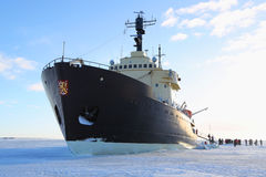 Icebreaker Sampo during unique cruise in frozen Baltic Sea Stock Image