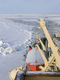 Icebreaker at sea. Tour with a finnish icebreaker at the Gulf of Bothnia, Baltic Sea Stock Photography