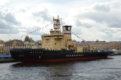 Icebreaker. Ship in the waters of the Neva River at the parade icebreakers Royalty Free Stock Image