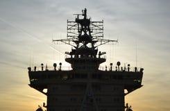 Icebreaker silhouette on sunset background. Stock Image