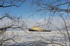 Icebreaker splits the ice royalty free stock photos