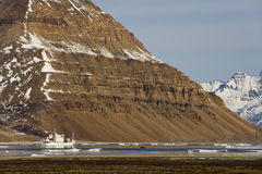 Icebreaker van de toerist - Groenland - het Noordpoolgebied Royalty-vrije Stock Foto