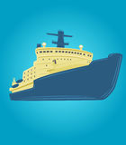 Icebreaker vector illustration. Nuclear powered ship. Arctic expedition navigation vessel Stock Image