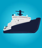 Icebreaker vector illustration. Nuclear powered ship. Arctic expedition navigation vessel Royalty Free Stock Photos