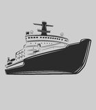 Icebreaker vector illustration. Nuclear powered ship. Arctic expedition navigation vessel Royalty Free Stock Photo