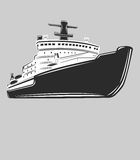 Icebreaker vector illustration. Nuclear powered ship. Arctic vessel. Nuclear icebreaker  vector illustration Royalty Free Stock Image