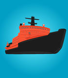 Icebreaker vector illustration. Nuclear powered ship. Arctic vessel. Nuclear icebreaker  vector illustration Royalty Free Stock Photo