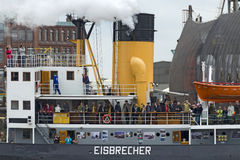 Icebreaker with visitors at the harbour-birthday Hamburg 2012 Royalty Free Stock Photos