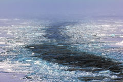 Icebreaker on way to North pole Royalty Free Stock Images