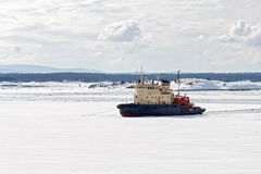 Icebreaker in the White Sea Stock Photo
