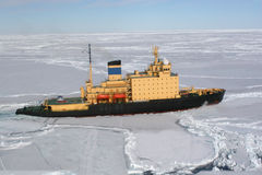 Icebreaker working in the pack Ice. Icebreaker working in the Ross sea (Antarctic stock photography