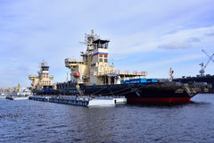 Icebreakers anchored in St. Petersburg, Russia Stock Photos