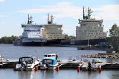 Icebreakers docked in the port, HELSINKI, FINLAND Stock Photo