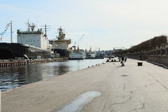 Icebreakers op Neva Royalty-vrije Stock Foto's