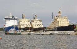 Icebreakers vessels on Helsinki harbor. Finland arctic maritime Stock Images