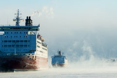 Icebreaking ferries arriving at Helsinki port Stock Photography