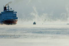 Icebreaking ferry arriving at Helsinki port Royalty Free Stock Photos