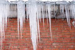 Icecles对砖墙 免版税图库摄影
