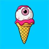 Icecreamöga med den rosa ögongloben och kräm Arkivbild