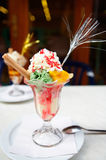 Icecream. A photo of multi color icecream in cafe royalty free stock photo