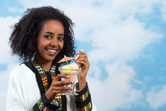 Icecream African girl Stock Images