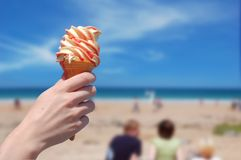 Icecream on the Beach Royalty Free Stock Photography