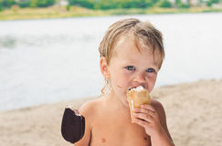 Icecream and boy Royalty Free Stock Image