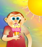 Icecream Boy. Illustration of a young boy eating an icecream on a hot summers day Royalty Free Stock Photo