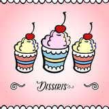 IceCream Card. Hand-drawn cover for your dessert menu. Vector illustration Royalty Free Stock Photos