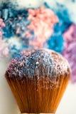 Icecream color shade brush. Loose icecream colour shades on white background with blush brush Stock Photos