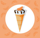 Icecream cone delicious icon flat style. Vector sweet illustration Stock Images