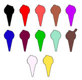 Icecream Cone Icons. A colection of icecream cone icons on white Stock Photography