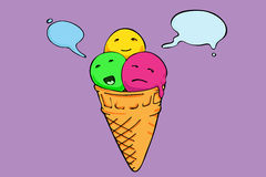 Icecream cone three flavours. Speech bubbles Royalty Free Stock Photography