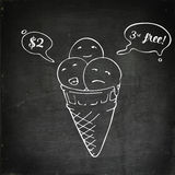 Icecream cone three flavours. Speech bubbles Royalty Free Stock Photo