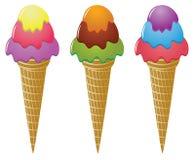 Icecream cones. Three vector colorful icecream cones Stock Photo