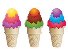 Icecream cones. Illustration of colorful icecream cones Stock Photography