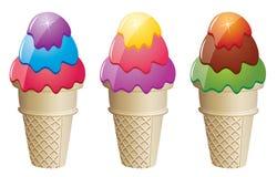 Icecream cones. Illustration of colorful icecream cones with Stock Photo