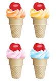 Icecream cones. Fruit icecream cones with cherries Stock Photography