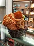 Icecream Cones. Close-up image of icecream cones in a cafeteria Stock Photos