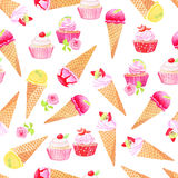 Icecream cones, cupcakes with roses watercolor seamless vector p. Icecream cones and cupcakes with roses watercolor seamless vector pattern Royalty Free Stock Photo
