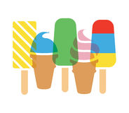 Icecream cones and popsicles, vector. Colorful icecream cones and popsicles, vector Stock Image