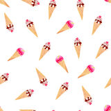 Icecream cones on white watercolor seamless vector print Stock Images